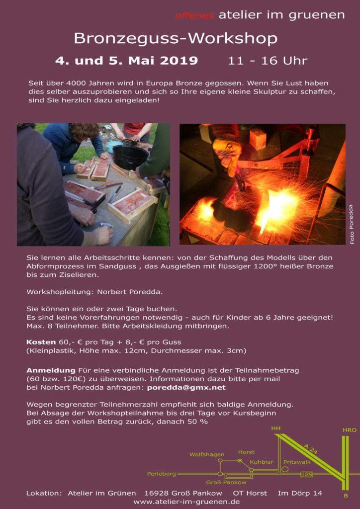 Workshop Bronze-Gießen, 4. und 5. Mai 2019, Plakat mit näheren Infos