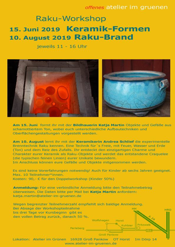 Workshop Keramik mit Raku-Brand, 15. Juni und 10. August 2019, Plakat mit näheren Infos